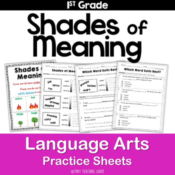 Shades Of Meaning Worksheet | Teachers Pay Teachers
