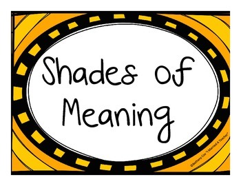 Shades of Meaning Vocabulary Center Activity