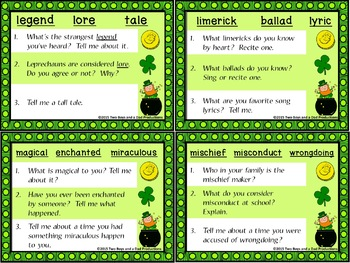 Shades of Meaning Discussion Cards St. Patrick's Day Version