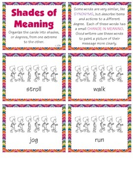 Shades of Meaning - Gradiation of Words (L 1.5d & L 2.5b)