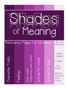Shades of Meaning: Overly Used Word Reference Pages