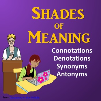 Connotations, Denotations, Synonyms, Antonyms - Shades of Meaning Powerpoint