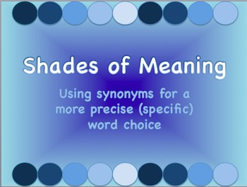 Shades of Meaning/Synonym Word Choice: Intro & Practice PowerPoint
