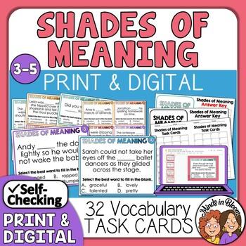 Shades of Meaning Task Cards by Rachel Lynette | Teachers Pay Teachers