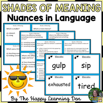 Shades of Meaning Vocabulary Activities