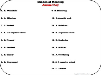 Shades of Meaning Task Cards 5th 4th 3rd Grade Reading Comprehension