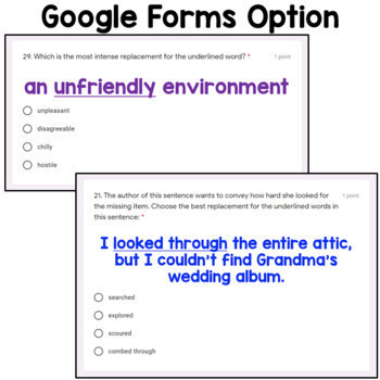 Shades of Meaning Task Cards Using Google Forms: A Digital Resource
