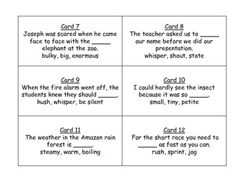 Shades of Meaning Task Cards for Journeys 3rd Grade