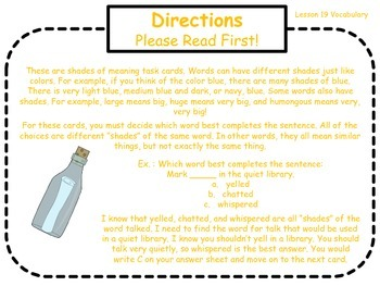 Shades of Meaning Task Cards for Journeys Grade 2