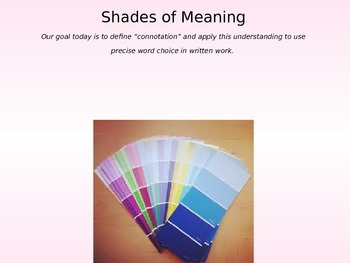 Shades of Meaning Vocabulary Lesson
