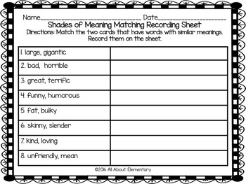 Shades of Meaning Vocabulary Practice