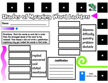Shades of Meaning Word Ladders