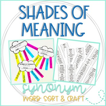 Shades of Meaning Word Sort and Rainbow Craftivity