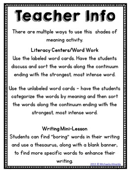 Shades of Meaning: Word Work