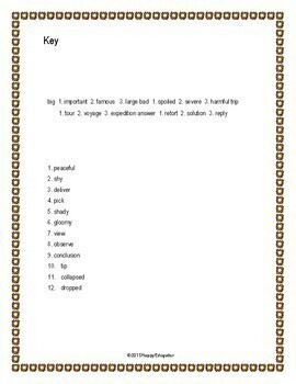 Shades of Meaning  Vocabulary Activity Worksheet