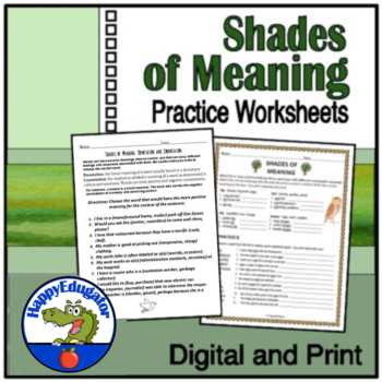 Shades of Meaning  Vocabulary Activity Worksheets