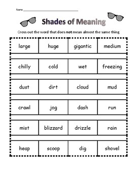 Shades of Meaning - synonyms - worksheets and paint chips too!
