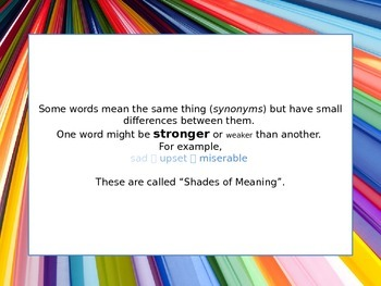Shades of Meaning/Synonym Interactive Introduction Powerpoint