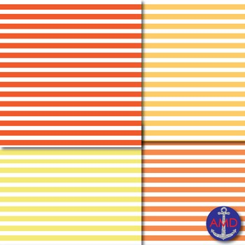 Shades of Orange & Yellow Thin Striped Dig. Paper for TPT Product Covers & More