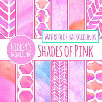 Shades of Pink Handpainted Watercolor Digital Paper / Backgrounds Clip Art Set