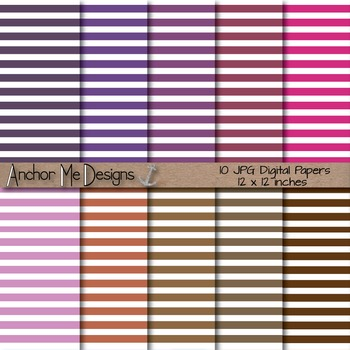 Shades of Purple & Brown Thin Striped Dig. Paper for TPT P