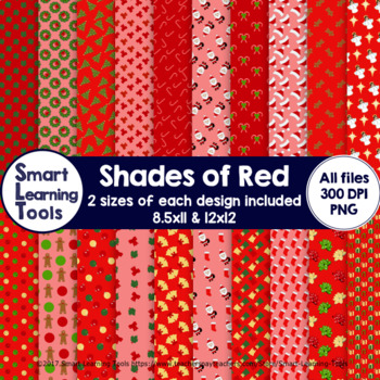Shades of Red Christmas Digital Papers