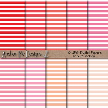 Shades of Red & Pink Thin Striped Digital Paper for TPT Pr