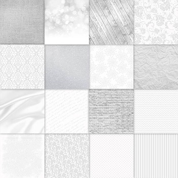 Shades of White Digital Paper Pack - 16 Different Papers - 12inx12in