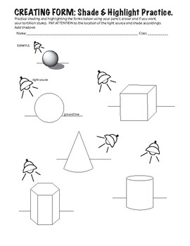 Shading & Highlighting Forms Practice Worksheet