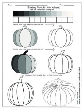 Shading Pumpkin Worksheet by Art 'n Stuff | Teachers Pay Teachers