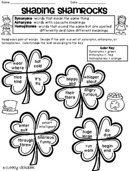 Shading Shamrocks- Synonyms, Antonyms, and Homophones Practice for St. Pat's Day