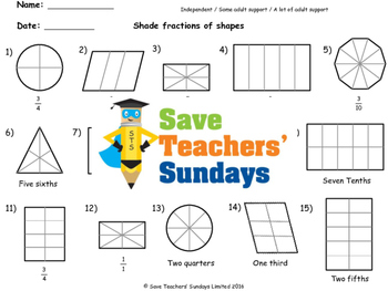 Shading Fractions Worksheets (3 levels of difficulty)