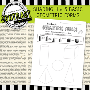 Shading the Five Basic Geometric Forms Word Document Art Value Worksheet