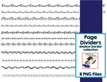 Shadow Border Collection - Page Dividers (11 PNG Files)