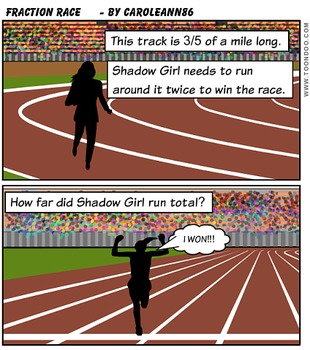 Shadow Girl race comic strip word problem adding fractions and mixed numbers