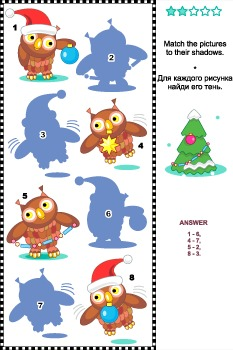 Shadow Match Game with Christmas Owls, Commercial Use Allowed