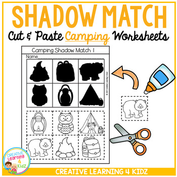 Shadow Matching Camping Cut & Paste Worksheets