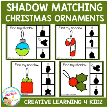 Shadow Matching Clip Cards: Christmas Ornaments