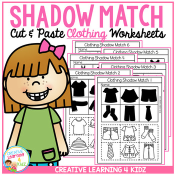 Shadow Matching Clothing Cut & Paste Worksheets