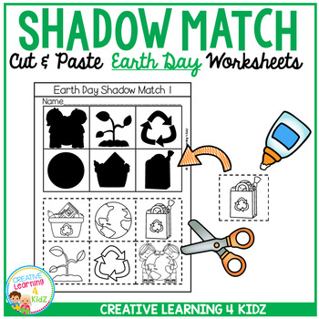 Shadow Matching Earth Day Cut & Paste Worksheets