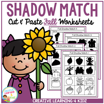 Shadow Matching Fall Cut & Paste Worksheets