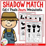 Shadow Matching Farm Cut & Paste Worksheets
