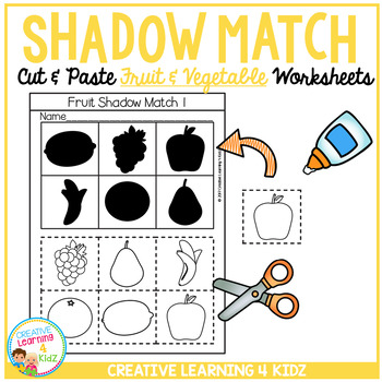 Shadow Matching Fruit & Vegetable Cut & Paste Worksheets