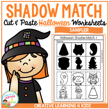Shadow Matching Halloween Cut & Paste Worksheet Sampler