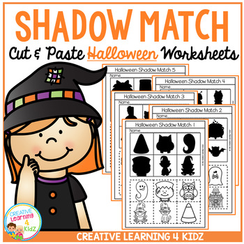 Shadow Matching Halloween Cut & Paste Worksheets