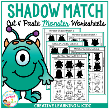 Shadow Matching Monster Cut & Paste Worksheets