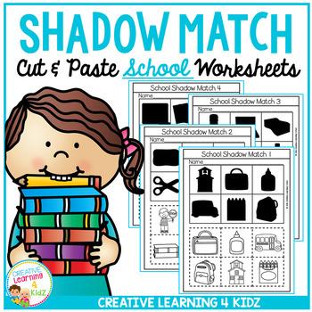 Shadow Matching School Cut & Paste Worksheets