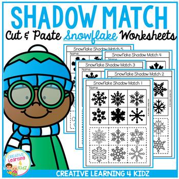 Shadow Matching Snowflake Cut & Paste Worksheets