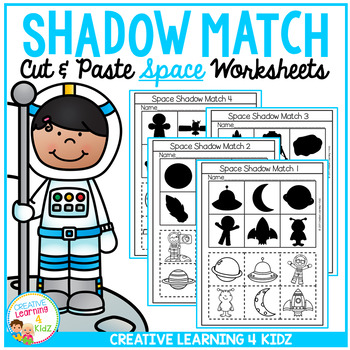 Shadow Matching Space Cut & Paste Worksheets