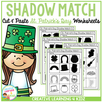Shadow Matching St. Patrick's Day Cut & Paste Worksheets